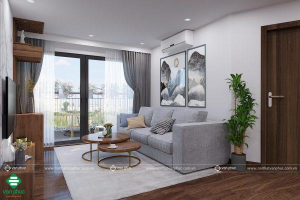 Thiết kế nội thất phòng khách không vuông vắn