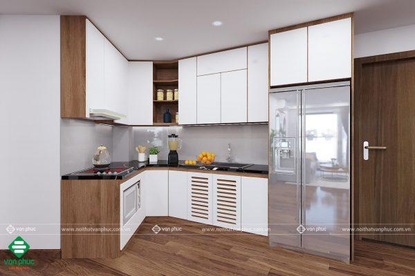 Thiết kế nội thất phòng bếp không vuông vắn